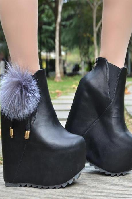 Faux Fur Decorate Inside High Wedge Heel Ankle Boots