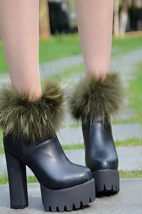 Faux Fur Decorate Side Zipper Platform Super High Heel Ankle Boots