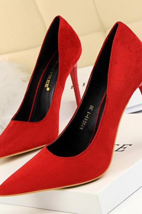 Red Faux Suede Pointed-Toe High Heel Stilettos