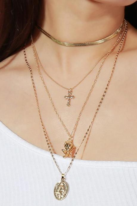 Fashion Multi-layered Cross Necklace