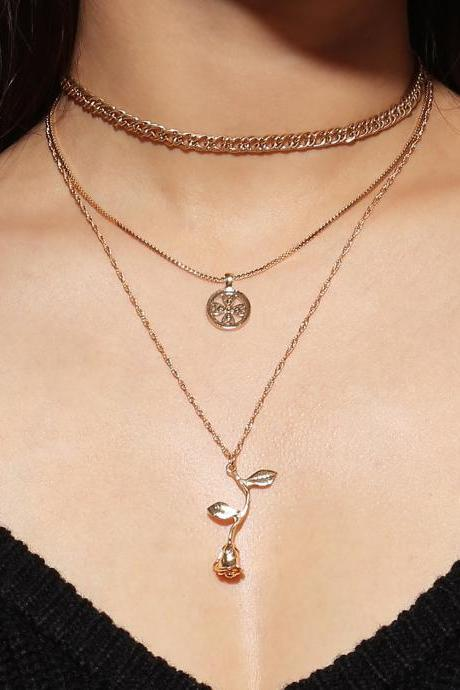Multi-layer Simple Alloy Rose Pendant Collar Bone Necklace