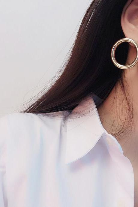 Simple Plain Face Geometric Rings With Matching Earrings