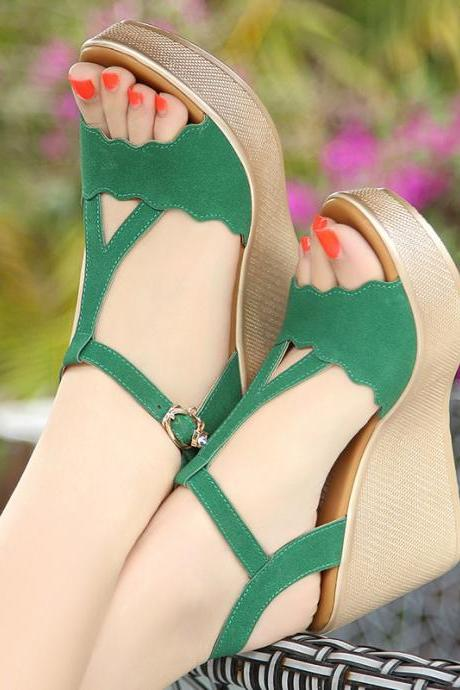 Suede Open-toe Platform Ankle Strap Wedge Sandals