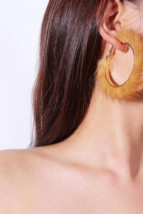 Stylish Geometric Curved Mink Hair Earrings