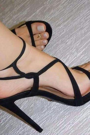 Simple Straps Open Toe High Stiletto Heel Sandals
