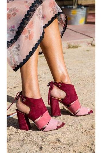 Color Block Suede Chunky Heel Peep-toe Lace-up High Heel Sandals