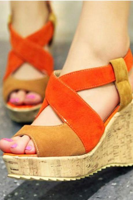 Color Patchwork Peep Toe Straps Platform Wege Sandals