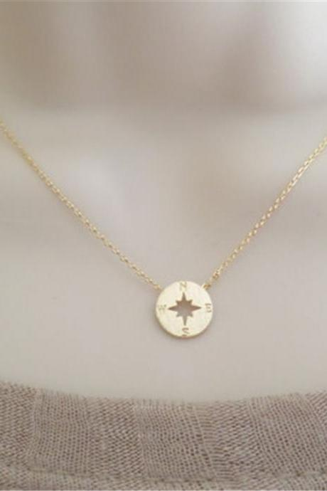 Compass Clavicle Letter Pendant Necklace