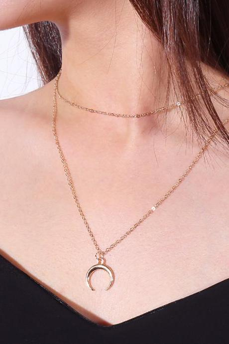 Alloy Meniscus Pendant Multilayered Collarbone Necklace