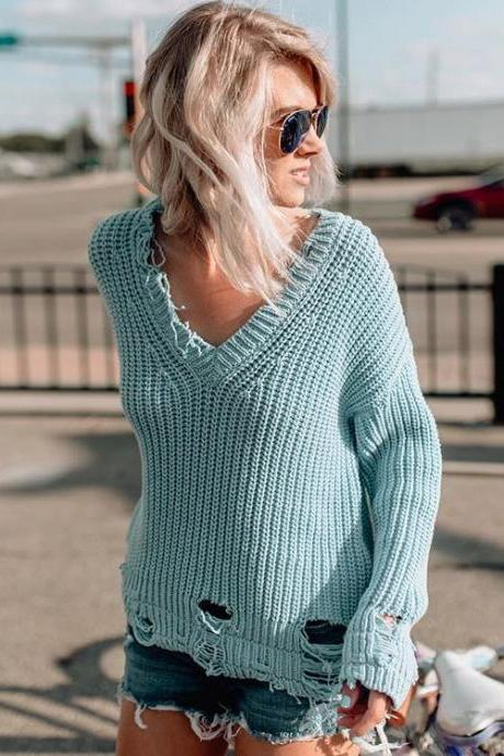 Deep V-neck Beggar Style Holes Loose Pullover Sweater