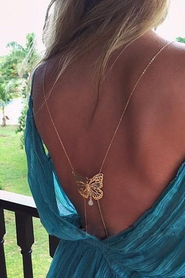 Shoulder Saucer Butterfly Pearl Tassel Body Chain