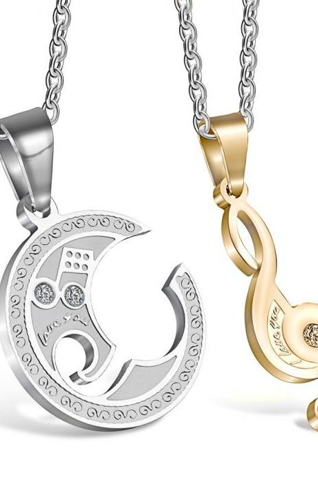 Music Notes Titanium Steel Couple Pendant Necklace
