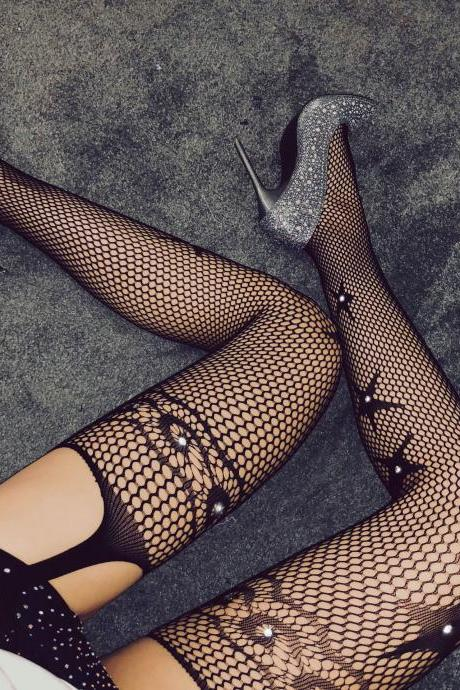 Sexy Star Jacquard Fishnet Stockings