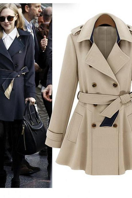 Lapel Collar Long Coat with Belt