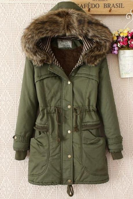 Faux Fur Collar Long Winter Coat