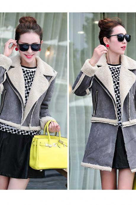 Lamb Wool Coat Jacket with Removable Hem