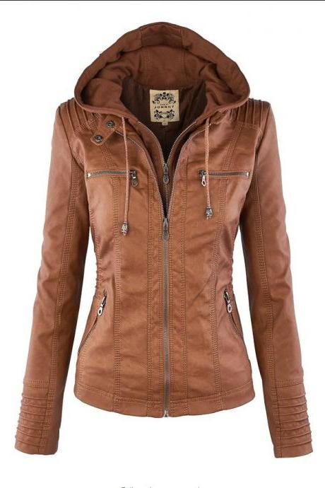 Removable Collar Zipper Womens Jacket Hoodie