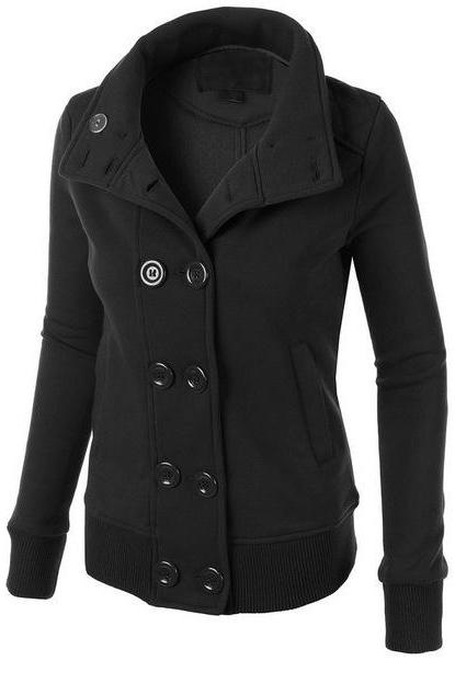 Women Button Hooded Coat with Removable Hat