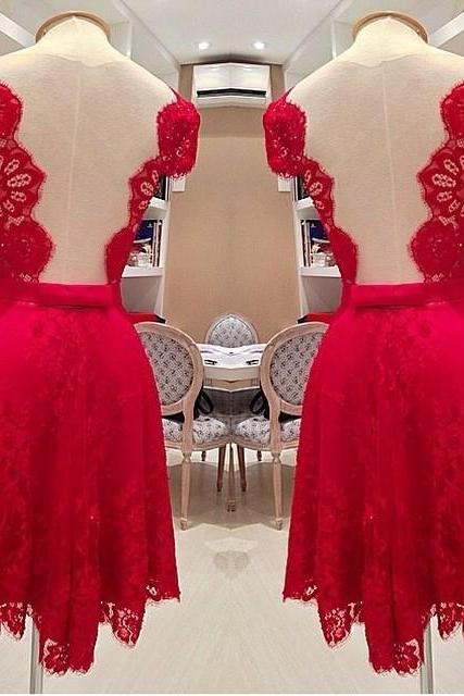 Shinning Red Backless Short Sleeves Short Lace Party Dress