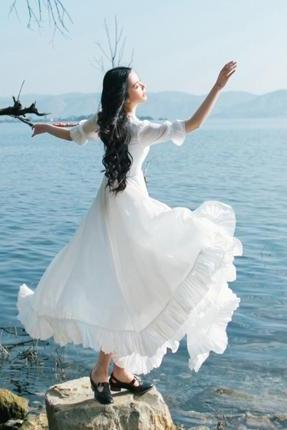 Princess A-line Bowknot Half Sleeves Ruffles Long White Dress