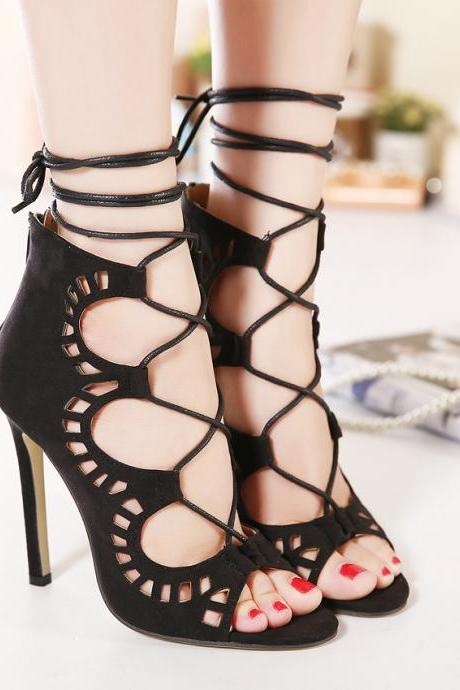 Suede Lace-Up Peep Toe High Heel Stilettos Featuring Cutout Detailing