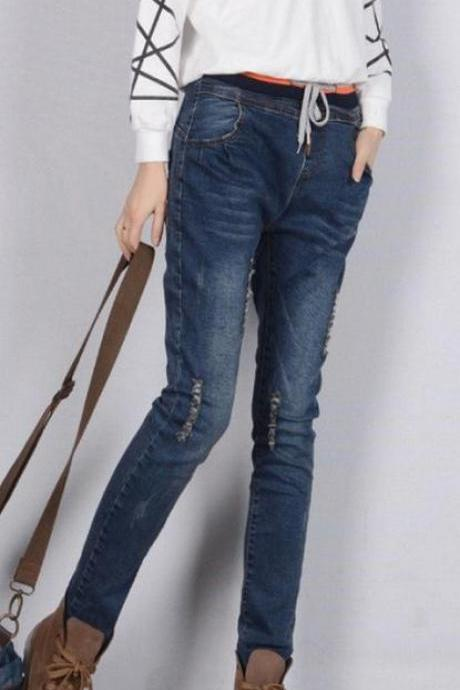 Plus Size Elastic Slim High Waist Straight Jeans
