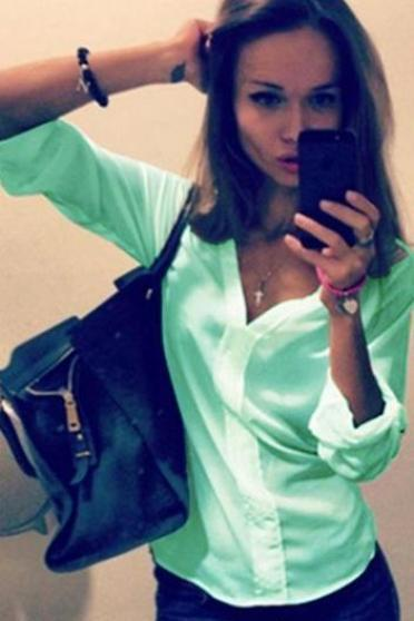 V-neck Long Sleeves Pure Color Slim Blouse Shirt