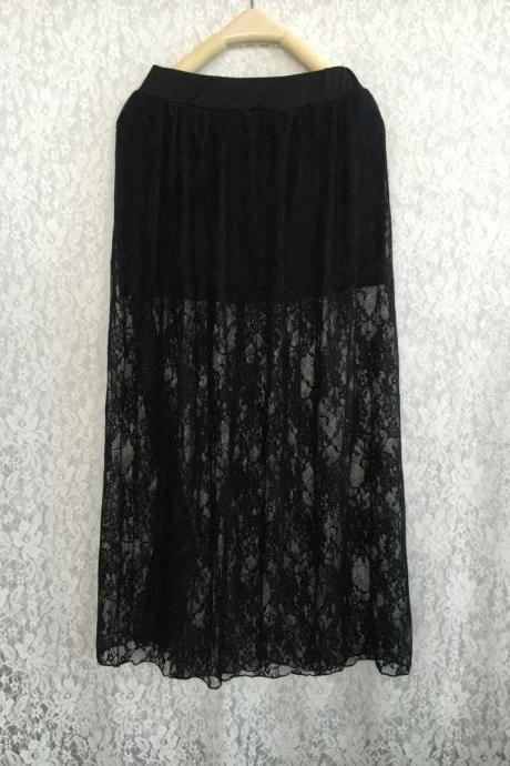 Lace Two Pieces Hollow Out Elastic Long Skirt