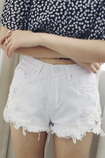 Lace Patchwork High Waist Sexy Short Denim Shorts