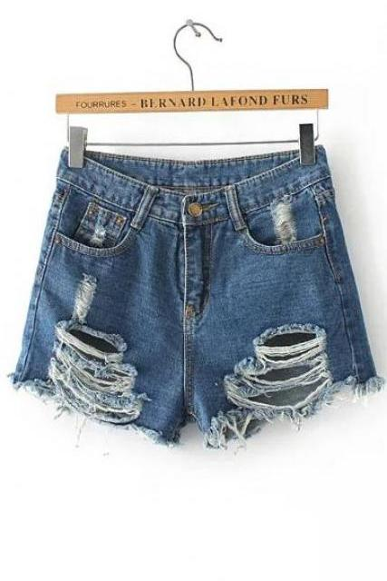Ripped Holes High Waist Rough Edges Denim Shorts