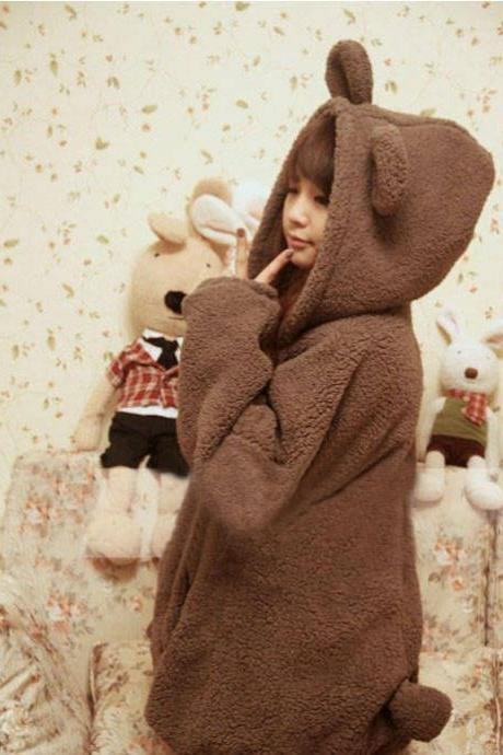 Cartoon Hooded Zipper Solid Bubble Cuff Long Coat