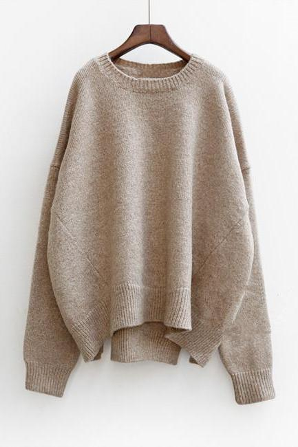 Knitted Crew Neck Long Batwing Sleeves Oversized Sweater