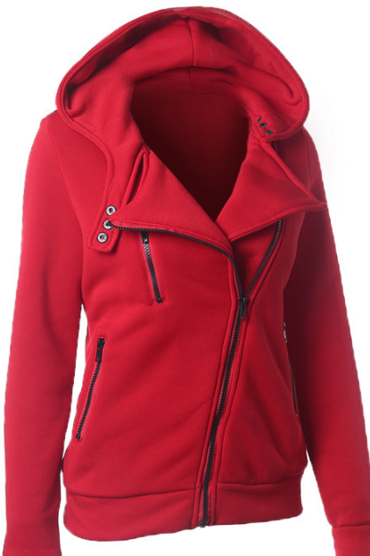 Slide Zipper Pure Color Hooded Lapel Hoodie