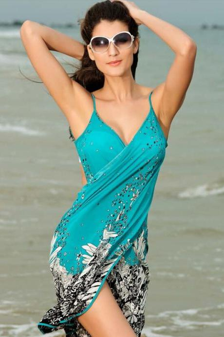 Spaghetti Straps Print Backless Short Beach Cover Up Dress