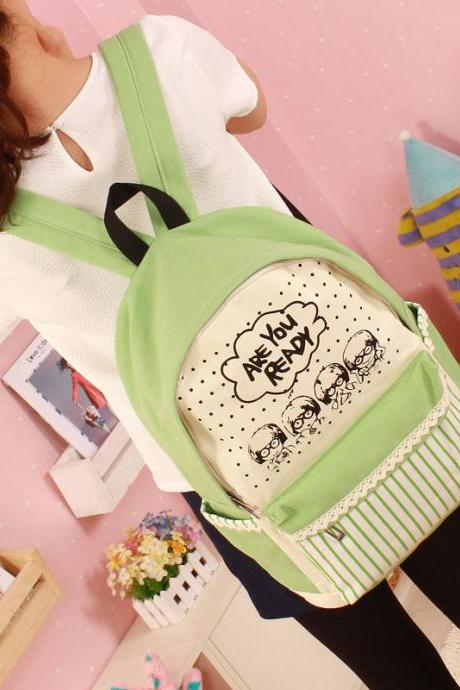 Cartoon Print Sweet Fashion School Backpack Canvas Bag