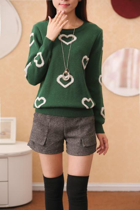 Korean Scoop Pattern Embroidery Pullover Slim Sweater