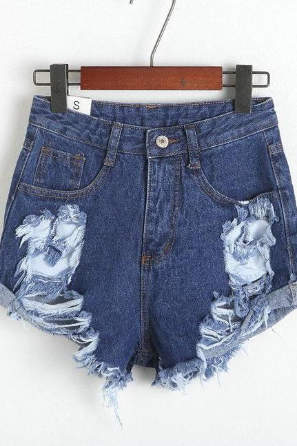 High Waisted Distressed Jean Shorts Featuring Frayed Hem