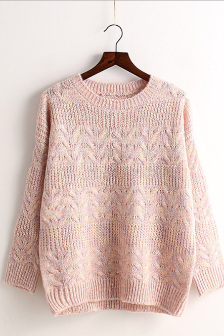Colored Knit Pullover Scoop Sweet Sweater