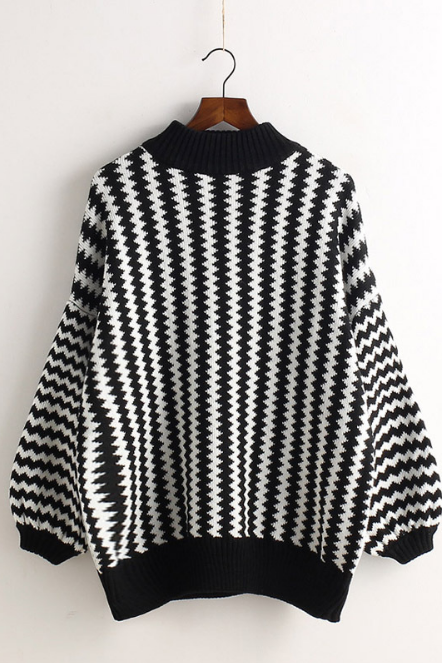 Wavy Lines Balloon Sleeve Pullover Half High Collar Sweater