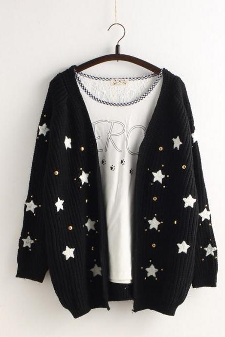 Star Print Knit Cardigan Embroidery Loose V-neck Sweater