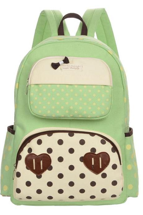 Polka Dot Print Bowknot Backpack School Canvas Bag