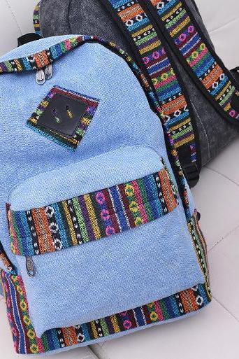 National Flavor Canvas Backpack School Travel Bag
