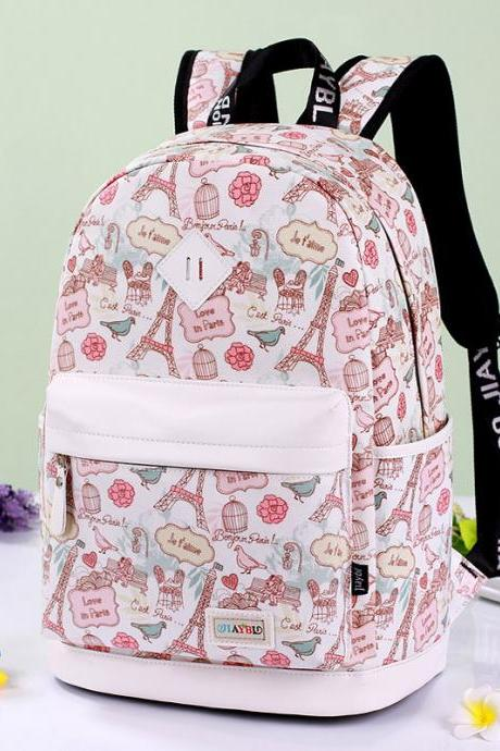 Preppy Style Print School Backpack Travel Bag