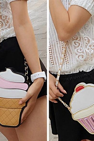 Cute Cartoon Women Ice Cream/ Cupcake Shape Mini Shoulder Bag Metal Chain