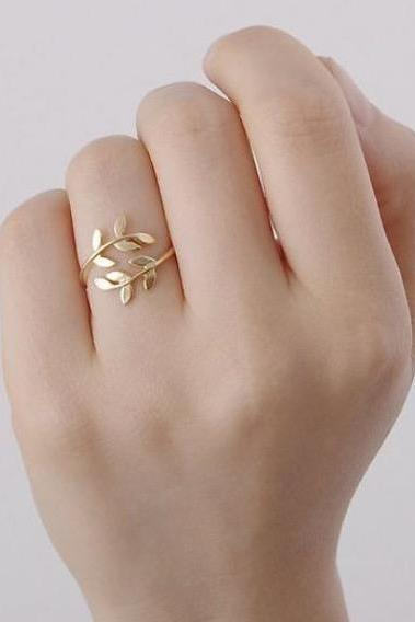 Olive branch leaf ring