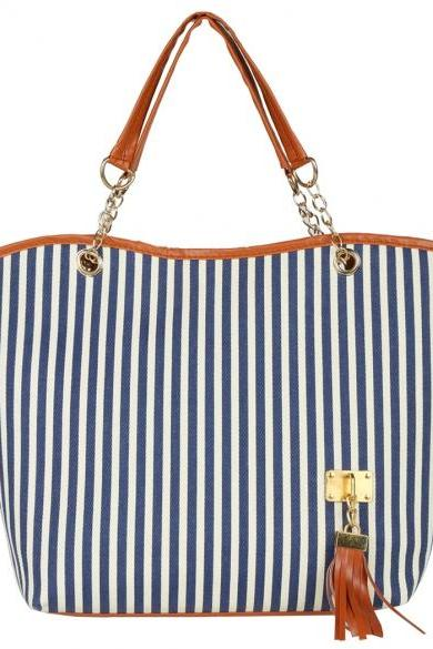 Navy and White Stripes Canvas Tote Bag with Leather and Chain Shoulder Straps