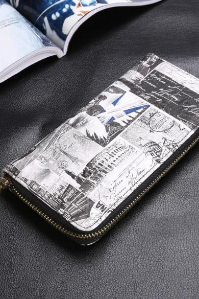 New Women Synthetic Leather Casual Vintage Style Print Zipper Long Wallet Purse