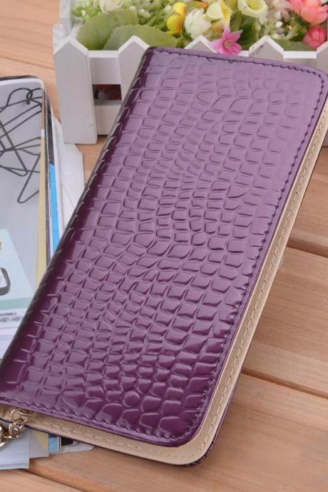 New Stylish Luxury Women's Wallet High Quality Synthetic Leather Purse Casual Long Clutch Bag With Wristlet