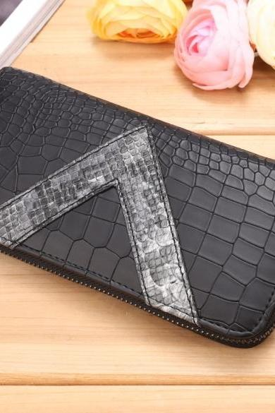 New Women Synthetic Leather Wallet Zipper Around Plaid Clutch Casual OL Party Long Purse