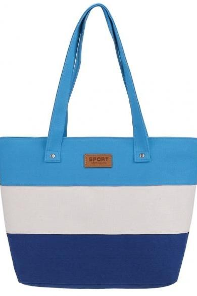 Women Fashion Large Capcity Stripe Contrast Color Handbag Canvas Shoulder Bags Casual Tote